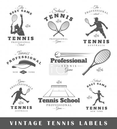 Set of vintage tennis labels