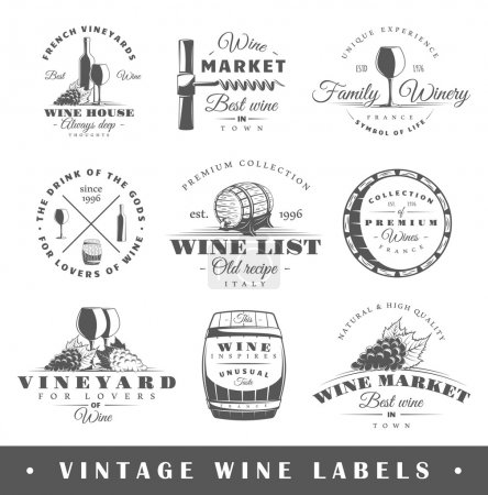 Illustration pour Ensemble d'étiquettes de vin. Eléments de design sur le thème du vin. Collection de symboles de vin : raisin, bouteille, tonneau. Étiquettes modernes de vin. Emblèmes et logos du vin. Illustration vectorielle - image libre de droit