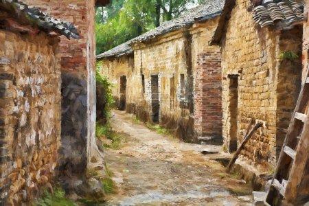 A beautiful impressionist portrait of Jiangtou Ancient Village in Guangxi Zhuang Autonomous Region, China