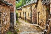 A beautiful impressionist portrait of Jiangtou Ancient Village in Guangxi Zhuang Autonomous Region, China