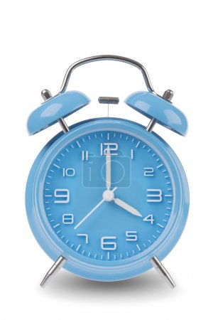 Réveil bleu avec les mains à 4 h ou à 4 h isolé sur fond blanc, Une des 12 images montrant le sommet de l'heure commençant par 1 h / h et passant par toutes les 12 heures