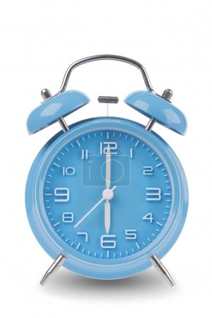 Blue alarm clock with the hands at 6 am or pm isolated on a white background, One of a set of 12 images showing the top of the hour starting with 1 am / pm and going through all 12 hours