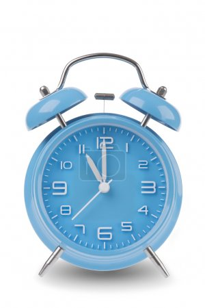 Blue alarm clock with the hands at 11 am or pm isolated on a white background, One of a set of 12 images showing the top of the hour starting with 1 am / pm and going through all 12 hours