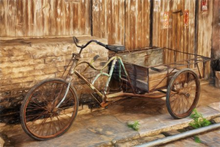 Fine art print of an antique bicyle in the old town of Daxu China.  Daxu Ancient Town was built at the beginning of the Song dynasty. A 2.3km long and 2m wide stone street runs through the town with various ancient buildings lining both sides. These