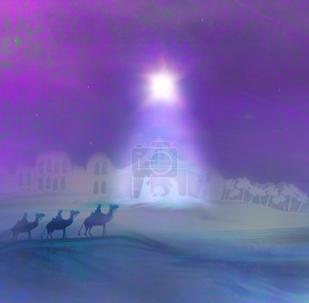 Foto de Escena bíblica - nacimiento de jesus en medio del caos. - Imagen libre de derechos