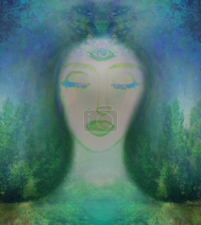 Photo for Woman with third eye, psychic supernatural senses - Royalty Free Image