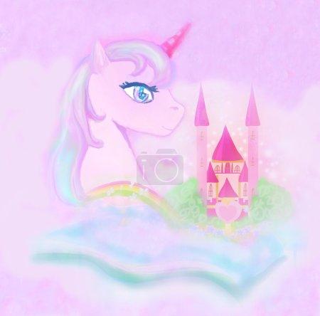 Photo pour Mignon arc-en-ciel licorne et château princesse conte de fées - image libre de droit