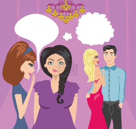 Illustration for Girls gossiping about a pair of lovers - Royalty Free Image