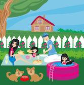 Family having barbecue in the garden