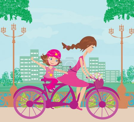 Illustration for Mother and daughter biking - Royalty Free Image