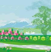 """Постер, картина, фотообои """"векторный пейзаж с горами и лебедями на озере"""""""