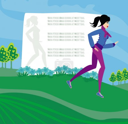 Jogging girl, abstract frame with space for text