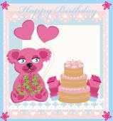 Birthday card sweet teddy bear holding heart balloons