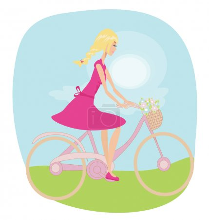 Illustration for Girl is riding bike on spring field. - Royalty Free Image