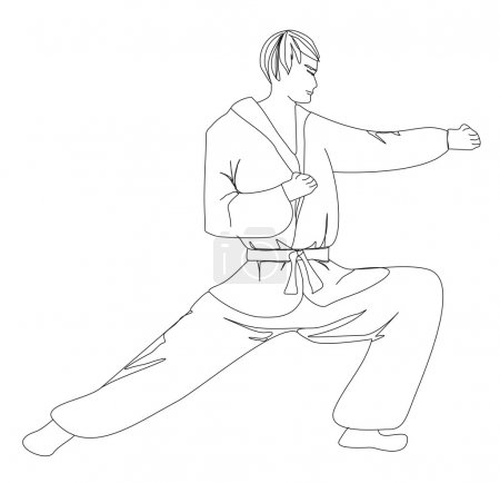 Simple sketch of a man doing martial arts