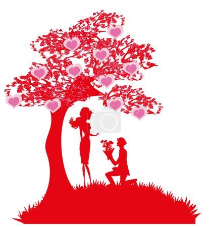 Illustration pour Mariage proposition - silhouette de couple - image libre de droit