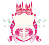 Fairytale frame with pink magic castle and unicorns