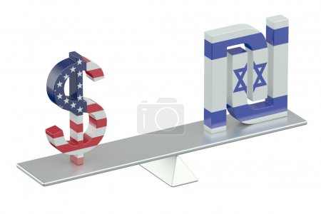 USA Dollar with Israeli Shekel, balance concept...