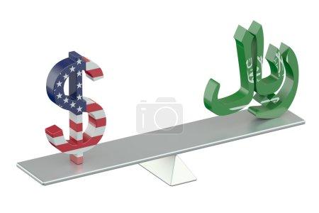 USA Dollar or Saudi riyal, balance concept isolate...