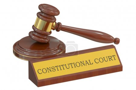 constitutional court concept with gavel. 3D rendering