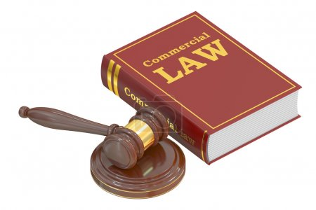 Wooden Gavel and Commercial Law Book, 3D rendering
