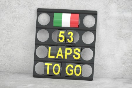 Monza racing, pit board with flag of Italy, 3D rendering