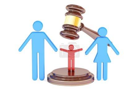 Photo pour Divorce et garde concept d'enfant avec marteau et famille, rendu 3D - image libre de droit