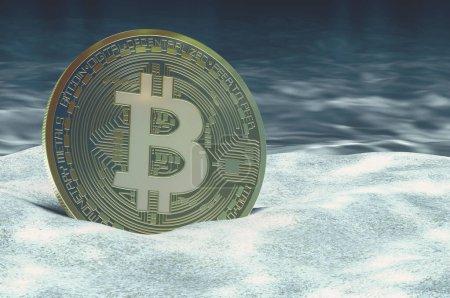 Photo pour Bitcoin frappé concept de fond rocheux, rendu 3D isolé sur fond blanc - image libre de droit