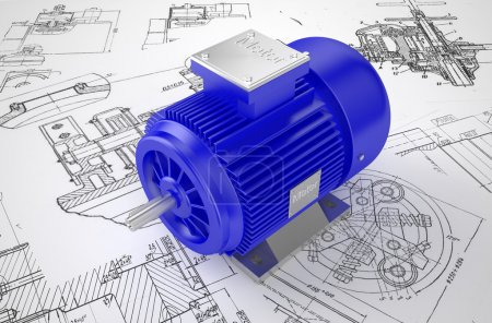 Industrial electric motor on the drawing