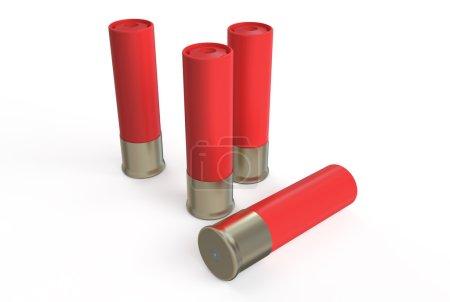 Photo pour Coquilles de fusil de chasse, rouge d'isolement sur le fond blanc - image libre de droit
