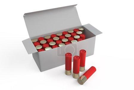 Photo pour Obus de fusil de chasse dans la boîte d'isolement sur le fond blanc - image libre de droit