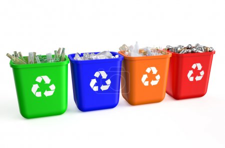 Recycling containers with  trash