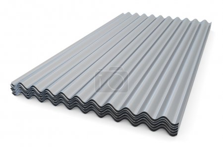 Corrugated metallic slates  for roofing