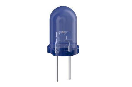 Blue LED light emitting diode isolated on white ba...