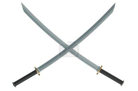 Two crossed Japanese samurai katana swords
