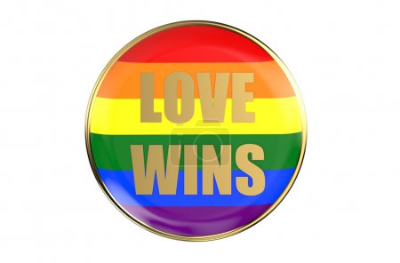 Badge with rainbow flag, love wins concept