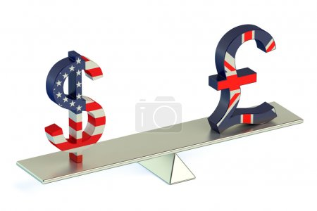 Dollar or Pound Sterling, USD/GBR balance concept ...