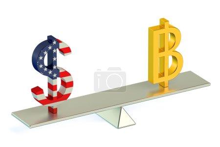 Dollar or Bitcoin , USD/BTC currency pair concept...