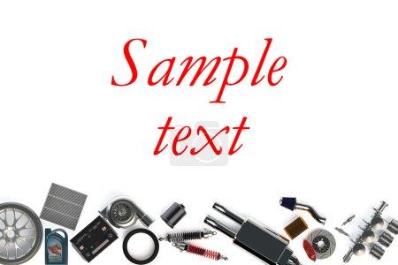 Photo pour Ensemble de pièces de voiture et accessoires isolés sur fond blanc - image libre de droit