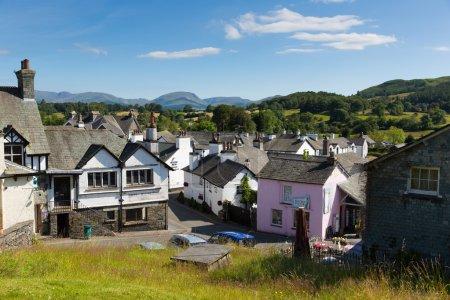 Hawkshead village the Lake District England uk on a beautiful sunny summer day popular tourist village