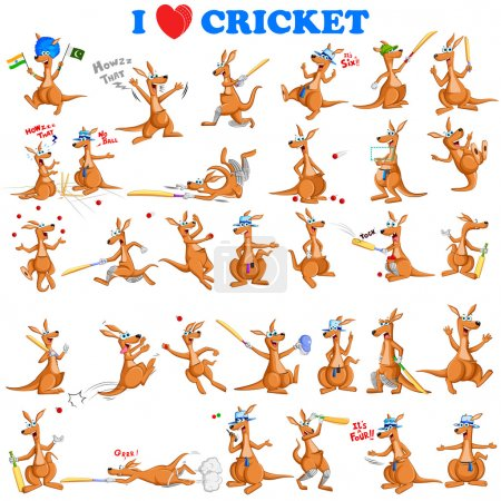 Kangaroo playing cricket