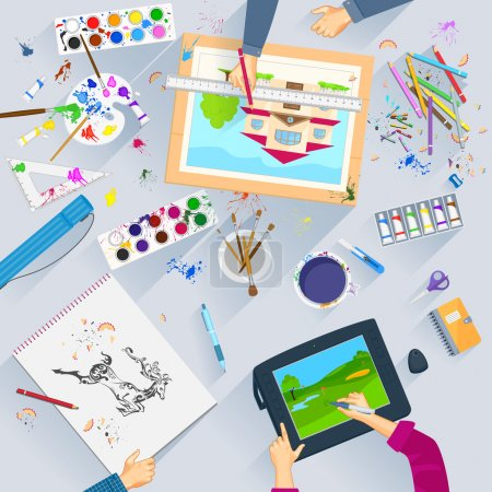 Illustration for Easy to edit vector illustration of working table of graphic artist - Royalty Free Image
