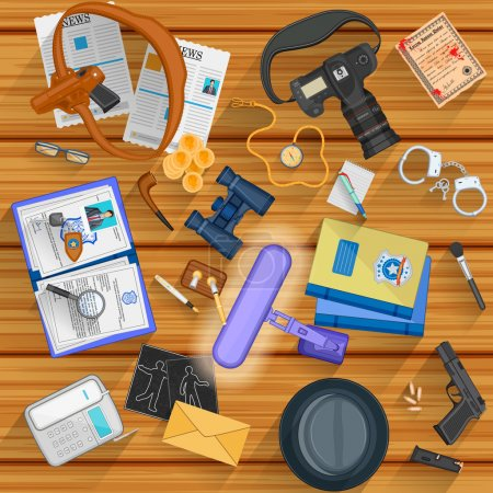 Illustration for Easy to edit vector illustration of working table of detective - Royalty Free Image
