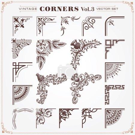 Illustration for Vintage Design Elements Corners 3 Vector - Royalty Free Image