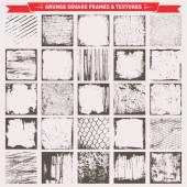 25 Grunge Square Frames Backgrounds Vector