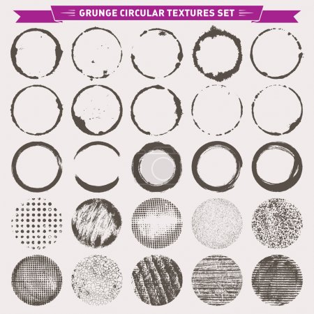 Illustration for Set of 25 grunge circular abstract texture backgrounds frames vector - Royalty Free Image