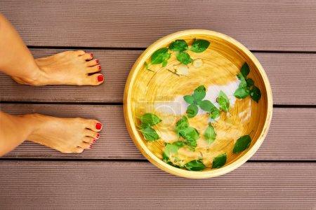 Body Care. Female Feet Spa Pedicure Procedure, Treatment. Basin,