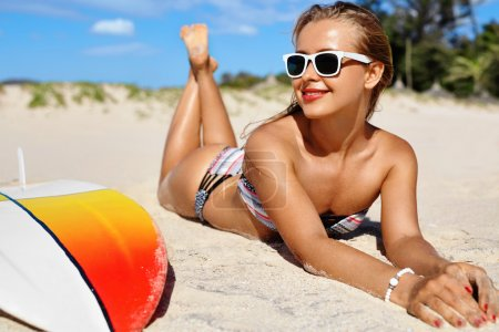 Summer Relaxation On Holidays Vacation. Healthy Woman On Beach.