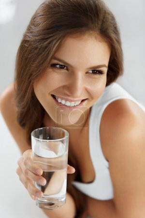 Healthy Lifestyle, Eating. Woman Drinking Water. Drinks. Health,
