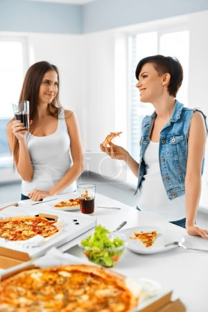 Eating Fast Food. Friends Eating Pizza. Home Party. Leisure, Cel